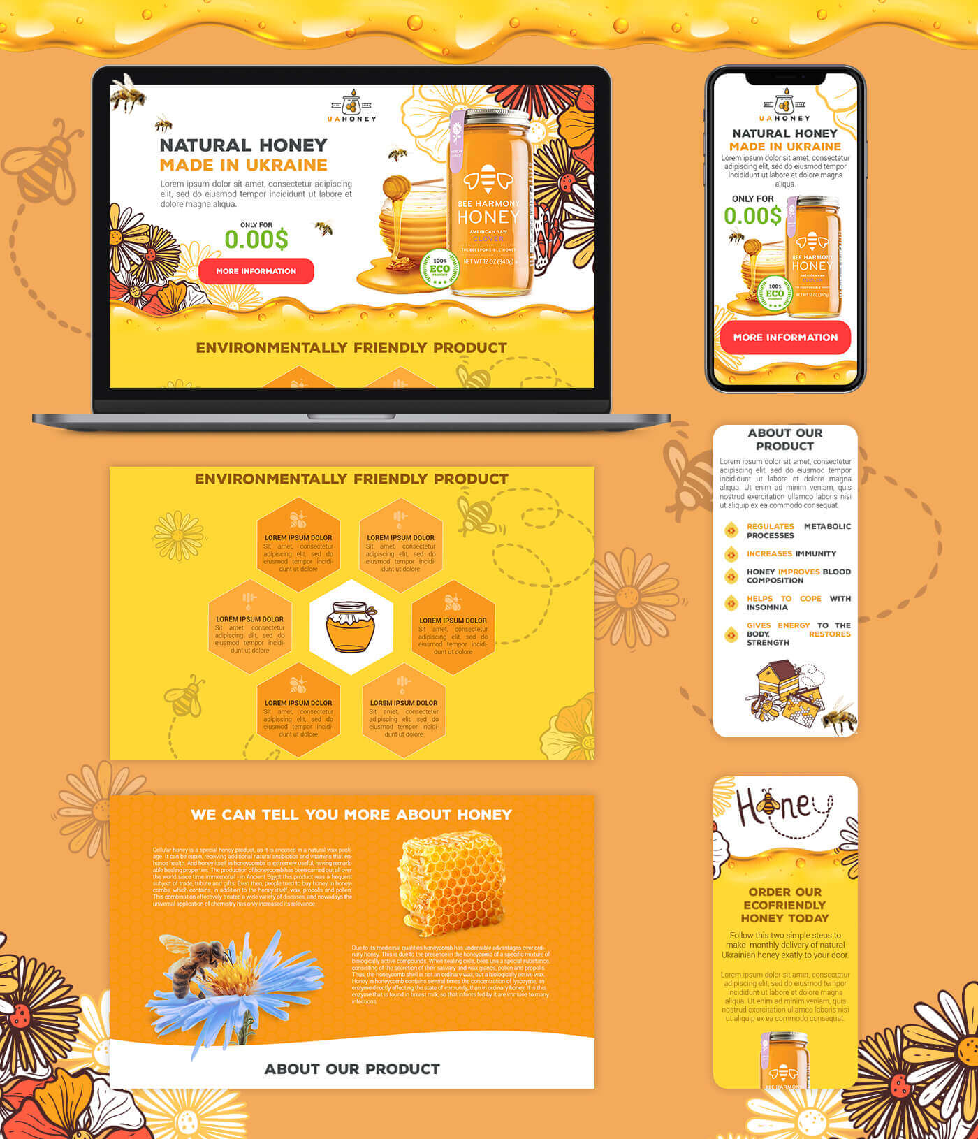 Лэндинг по продаже мёда